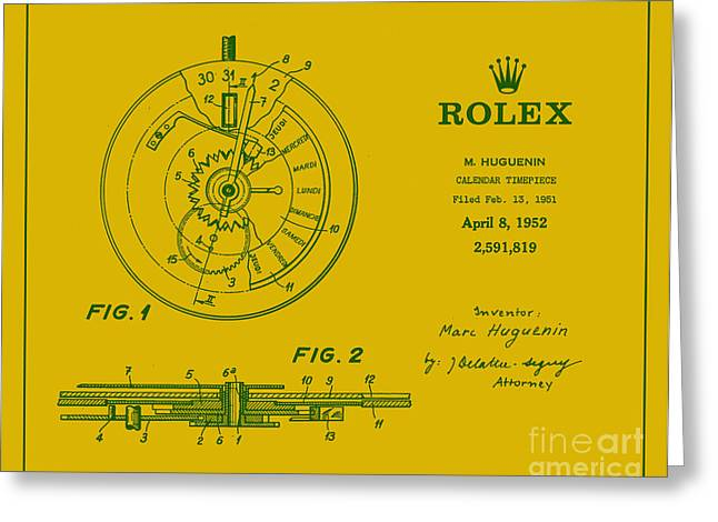 Perpetual Greeting Cards - 1952 Rolex Calendar Timepiece 5 Greeting Card by Nishanth Gopinathan