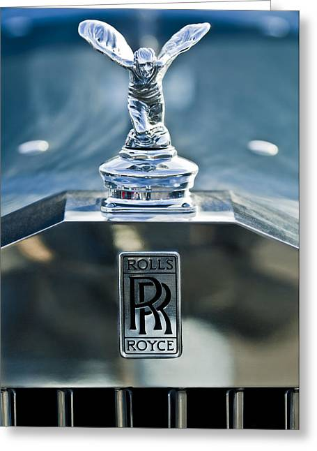 Vintage Hood Ornaments Greeting Cards - 1952 Rolls-Royce Hood Ornament Greeting Card by Jill Reger
