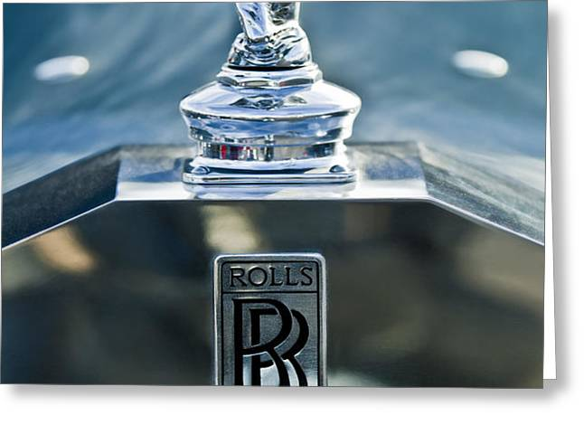 1952 Rolls-Royce Hood Ornament Greeting Card by Jill Reger
