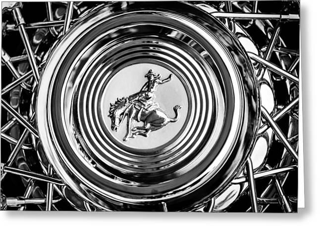 1952 Stering Gladwin Maverick Sportster Wheel Emblem - 1720bw Greeting Card by Jill Reger