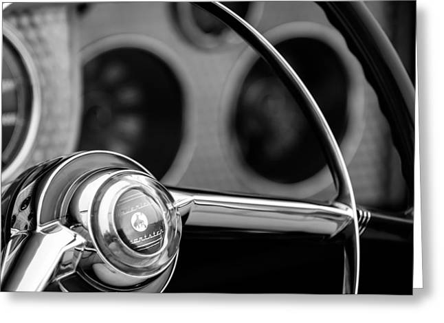 Sterling Greeting Cards - 1952 Sterling Gladwin Maverick Sportster Steering Wheel Emblem -1848bw Greeting Card by Jill Reger