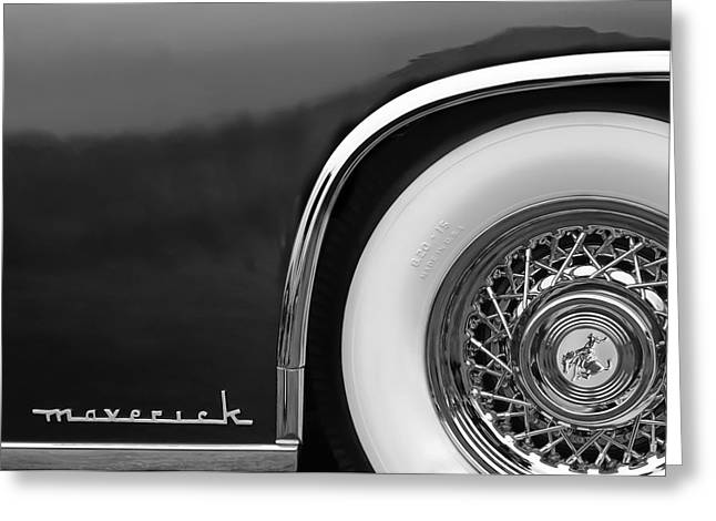 Sterling Greeting Cards - 1952 Sterling Gladwin Maverick Sportster Wheel Emblem - 0321bw Greeting Card by Jill Reger
