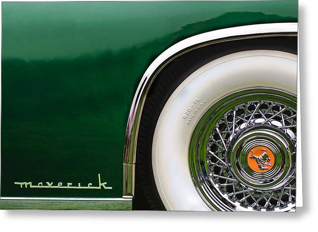 Sterling Greeting Cards - 1952 Sterling Gladwin Maverick Sportster Wheel Emblem -0321c Greeting Card by Jill Reger