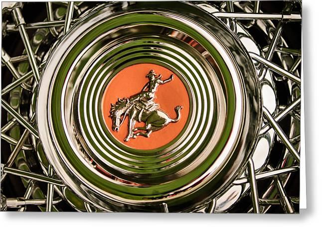 Maverick Greeting Cards - 1952 Sterling Gladwin Maverick Sportster Wheel Emblem - 1720c Greeting Card by Jill Reger