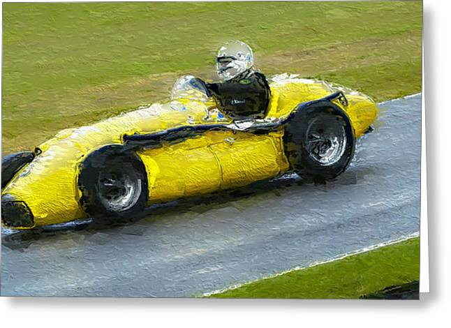 Single Seater Greeting Cards - 1952 Yellow Connnaught A Type Formula One 2 Greeting Card by John Colley