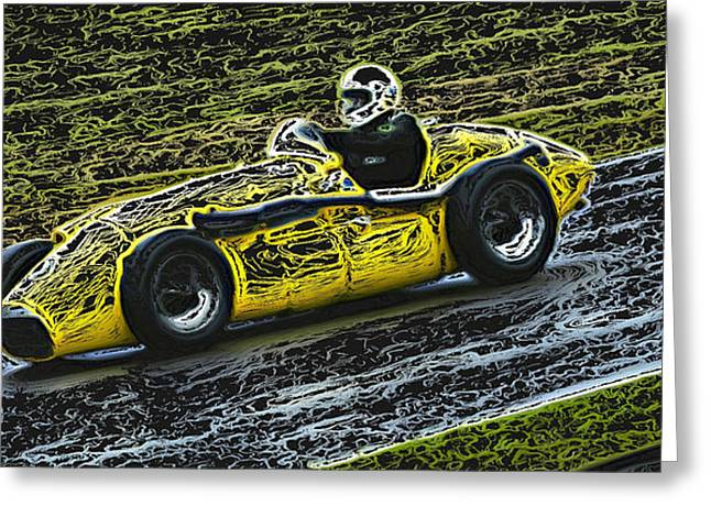 Single Seater Greeting Cards - 1952 Yellow Connnaught A Type Formula One Greeting Card by John Colley