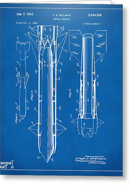 Modern Warfare Greeting Cards - 1953 Aerial Missile Patent Blueprint Greeting Card by Nikki Marie Smith