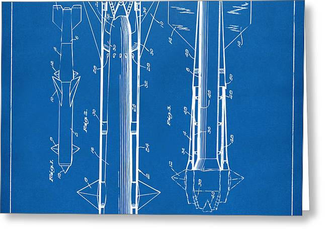 1953 Aerial Missile Patent Blueprint Greeting Card by Nikki Marie Smith
