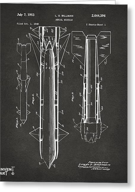Modern Warfare Greeting Cards - 1953 Aerial Missile Patent Gray Greeting Card by Nikki Marie Smith