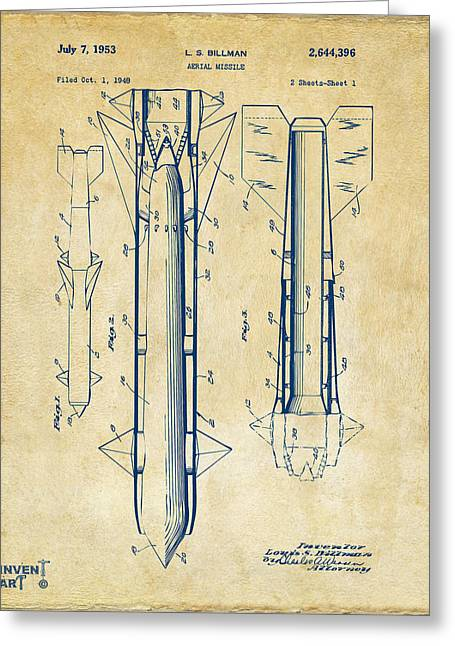 Aerial Greeting Cards - 1953 Aerial Missile Patent Vintage Greeting Card by Nikki Marie Smith