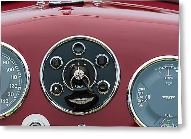 1953 Greeting Cards - 1953 Aston Martin DB2-4 Bertone Roadster Instrument Panel Greeting Card by Jill Reger