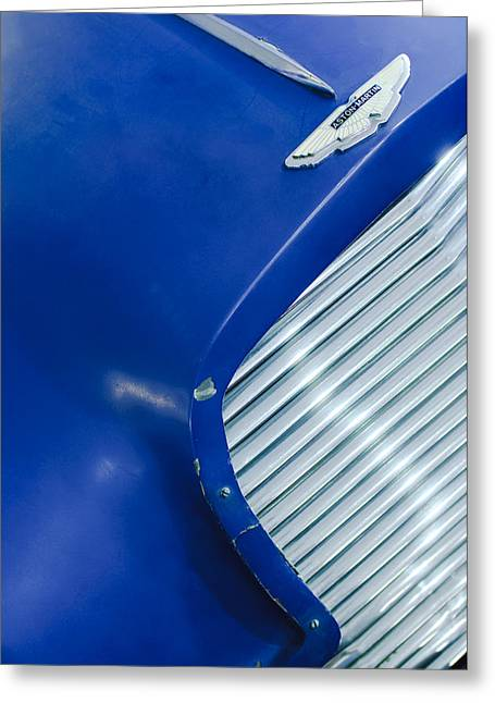 1953 Greeting Cards - 1953 Aston Martin DB2 Vantage Drophead Coupe Grille Emblem Greeting Card by Jill Reger