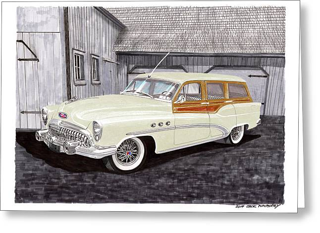 Volt Greeting Cards - 1953 Buick Estate Wagon Woody Greeting Card by Jack Pumphrey