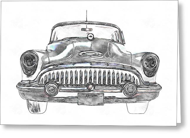 Blue Buick Greeting Cards - 1953 Buick Roadmaster FE Greeting Card by Edward Fielding