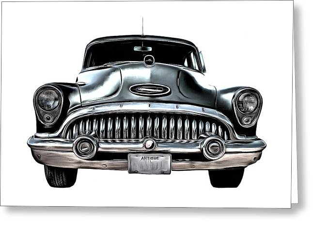 Blue Buick Greeting Cards - 1953 Buick Roadmaster Silver Greeting Card by Edward Fielding