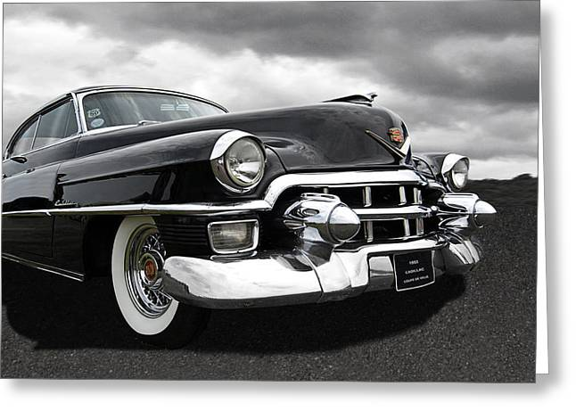 Custom Grill Greeting Cards - 1953 Cadillac Coupe De Ville Black and White Greeting Card by Gill Billington