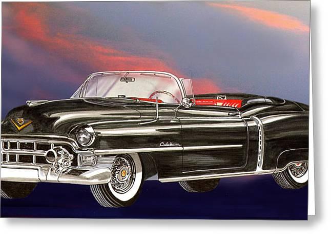 Black Boots Mixed Media Greeting Cards - 1953  Cadillac El Dorardo Convertible Greeting Card by Jack Pumphrey