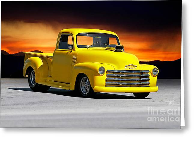 Slam Greeting Cards - 1953 Chevrolet Custom Pick Up Greeting Card by Dave Koontz
