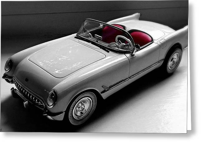 Photographs With Red. Greeting Cards - 1953 Corvette Roadster Greeting Card by Pamela Blayney