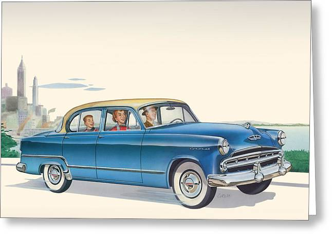 Historical Images Paintings Greeting Cards - 1953 Dodge Coronet - Square Format Image Greeting Card by Walt Curlee