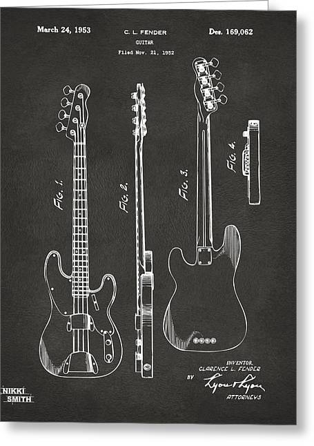 Cave Greeting Cards - 1953 Fender Bass Guitar Patent Artwork - Gray Greeting Card by Nikki Marie Smith