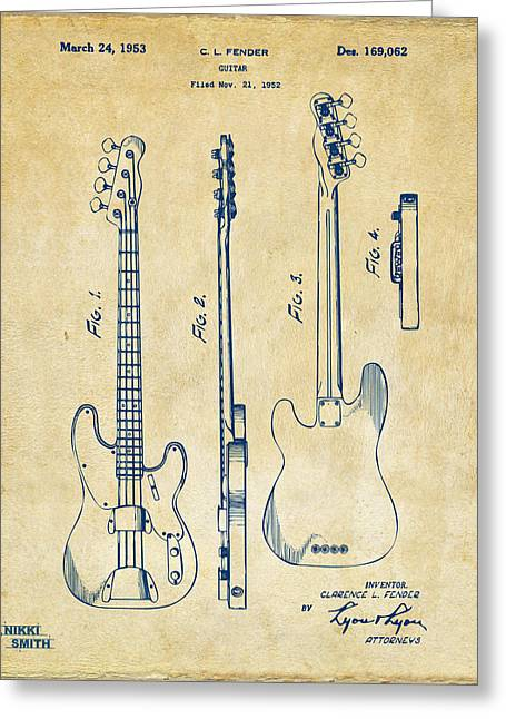 Schematic Greeting Cards - 1953 Fender Bass Guitar Patent Artwork - Vintage Greeting Card by Nikki Marie Smith
