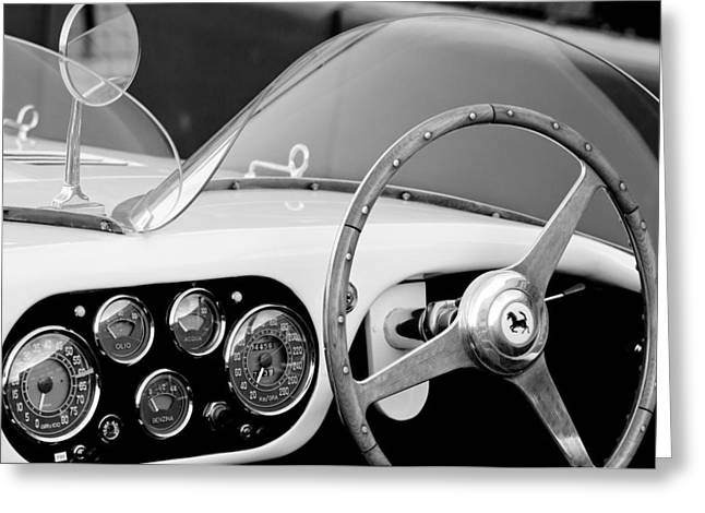 Steering Wheel Greeting Cards - 1953 Ferrari 340 Mm Lemans Spyder Steering Wheel Emblem Greeting Card by Jill Reger