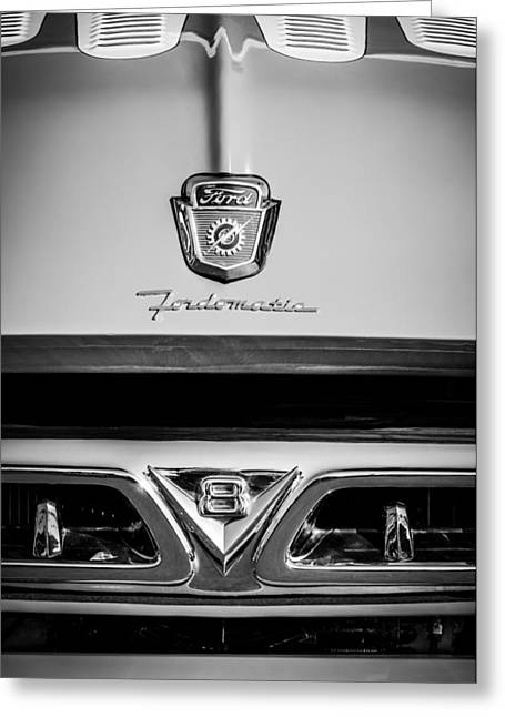 F-100 Fordomatic Truck Greeting Cards - 1953 Ford F-100 Fordomatic Pickup Truck Grille Emblems -0108bw Greeting Card by Jill Reger