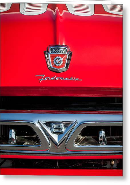 F-100 Fordomatic Truck Greeting Cards - 1953 Ford F-100 Fordomatic Pickup Truck Grille Emblems -0108c Greeting Card by Jill Reger