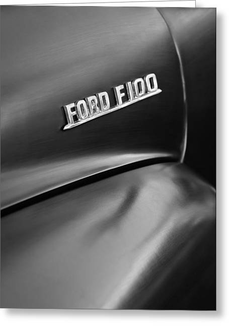 Classic Pickup Greeting Cards - 1953 Ford F-100 Pickup Truck Emblem Greeting Card by Jill Reger