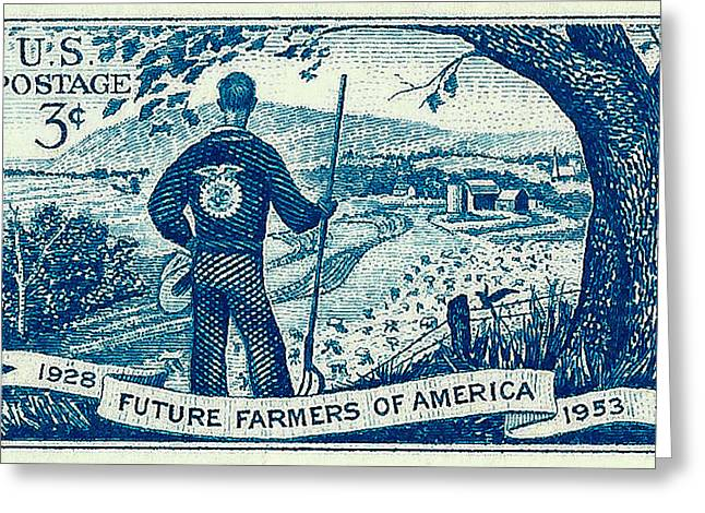 Old Stamps Greeting Cards - 1953 Future Farmers of America Postage Stamp Greeting Card by David Patterson