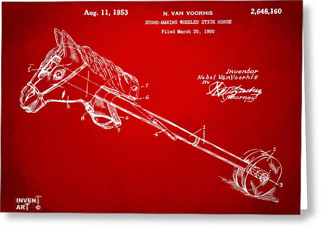 Horse-drawn Greeting Cards - 1953 Horse Toy Patent Artwork Red Greeting Card by Nikki Marie Smith