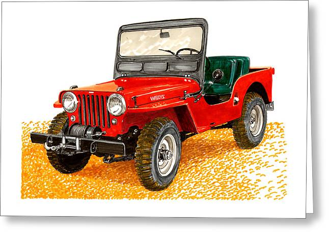 Stretching Drawings Greeting Cards - 1953 Jeep C J three A Greeting Card by Jack Pumphrey
