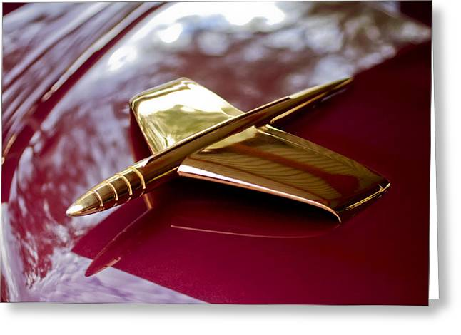 Kaiser Greeting Cards - 1953 Kaiser Golden Dragon Hood Ornament 3 Greeting Card by Jill Reger