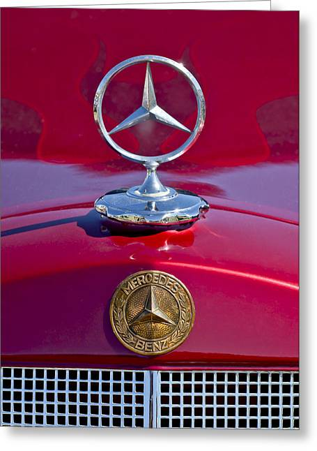 Mascot Greeting Cards - 1953 Mercedes Benz Hood Ornament Greeting Card by Jill Reger