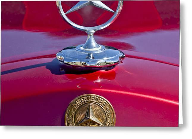 1953 Mercedes Benz Hood Ornament Greeting Card by Jill Reger
