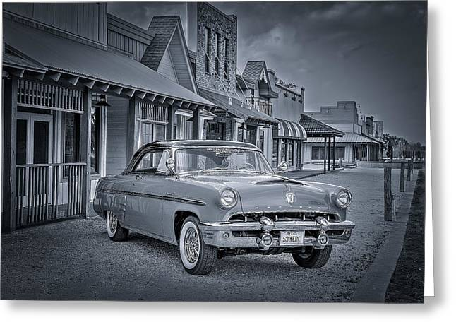 Autos Greeting Cards - 1953 Mercury Monterey BW 1 Greeting Card by David Morefield