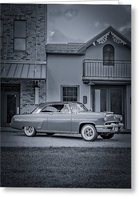 Autos Greeting Cards - 1953 Mercury Monterey BW 5 Greeting Card by David Morefield