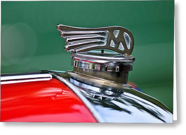 1953 Morgan plus 4 Le Mans TT Special Hood Ornament Greeting Card by Jill Reger