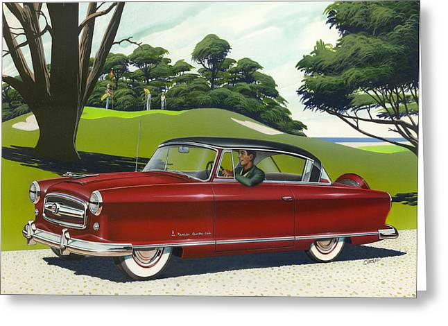 American Automobiles Paintings Greeting Cards - 1953 Nash Rambler - Square format Image Picture Greeting Card by Walt Curlee