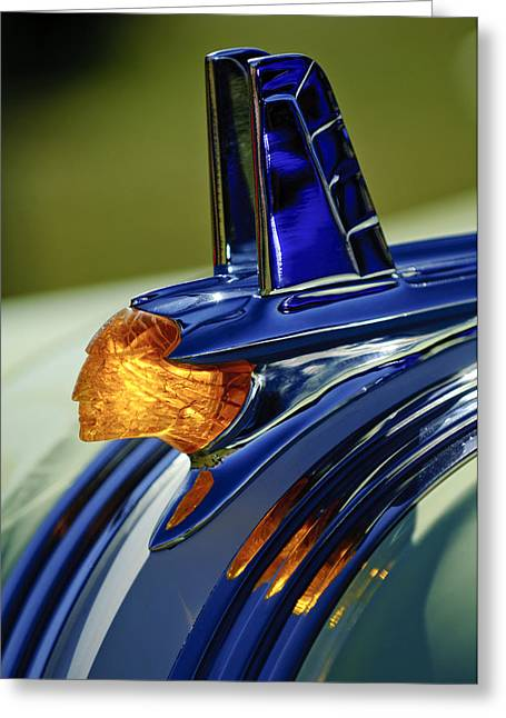 Mascot Photographs Greeting Cards - 1953 Pontiac Hood Ornament 3 Greeting Card by Jill Reger