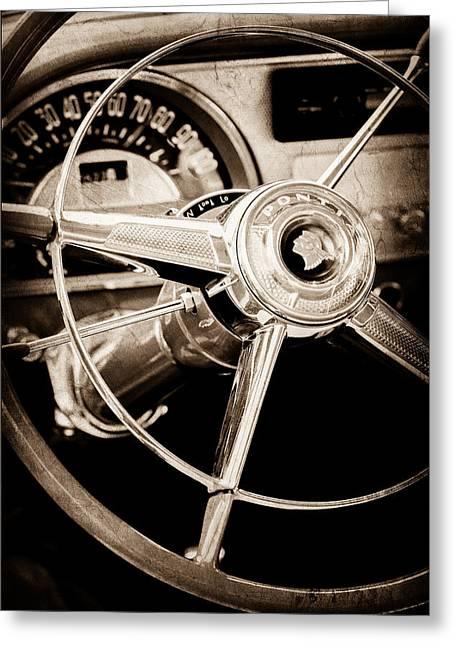 1953 Pontiac Greeting Cards - 1953 Pontiac Steering Wheel Emblem Greeting Card by Jill Reger