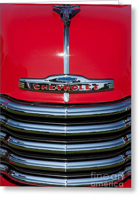 Chevrolet 3100 Greeting Cards - 1953 Red Chevrolet 3100 Pickup Greeting Card by Tim Gainey
