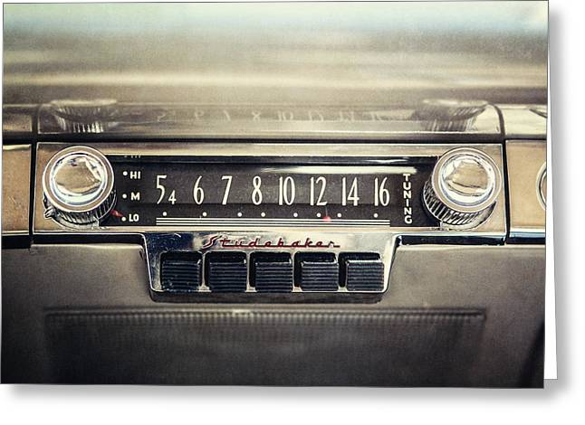 Mid Century Radio Greeting Cards - 1953 Studebaker Land Cruiser Car Radio Greeting Card by Lisa Russo