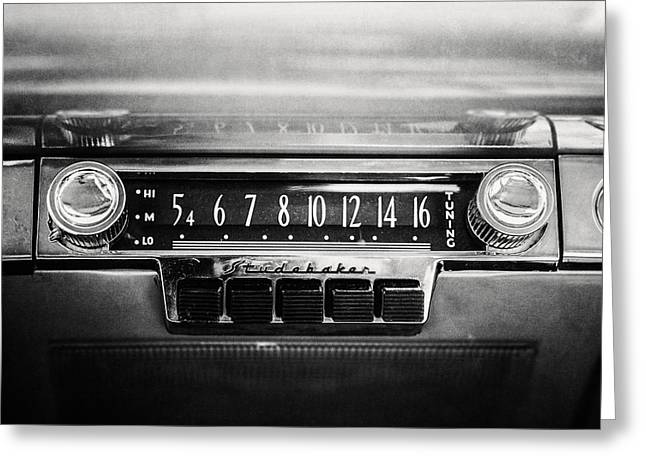 Mid Century Radio Greeting Cards - 1953 Studebaker Land Cruiser in Black and White Greeting Card by Lisa Russo