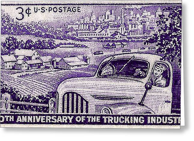 Postal Greeting Cards - 1953 Trucking Industry Postage Stamp Greeting Card by David Patterson