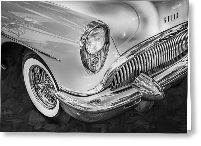 Motorized Greeting Cards - 1954 Buick Skylark Convertible Painted BW  Greeting Card by Rich Franco
