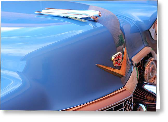Collector Hood Ornament Greeting Cards - 1954 Cadillac Coupe deVille Wheel Emblem - Hood Ornament Greeting Card by Jill Reger