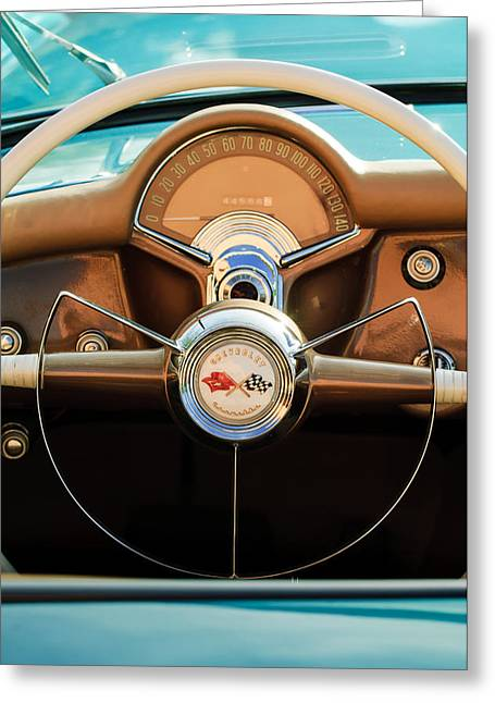 Fifties Greeting Cards - 1954 Chevrolet Corvette Convertible  Steering Wheel Greeting Card by Jill Reger
