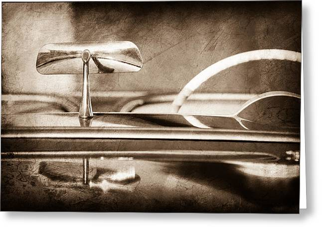 Rearview Greeting Cards - 1954 Chevrolet Corvette Rearview Mirror Greeting Card by Jill Reger